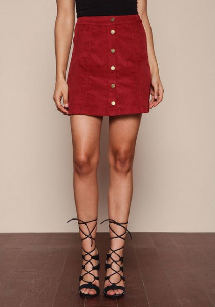 burgundy button up skirt black sleeveless top