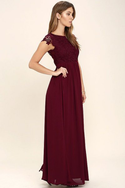 burgundy lace gathered waist maxi dress