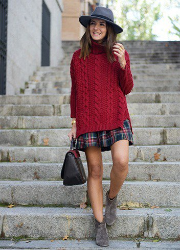 burgundy oversized cable knit sweater navy and red plaid skirt