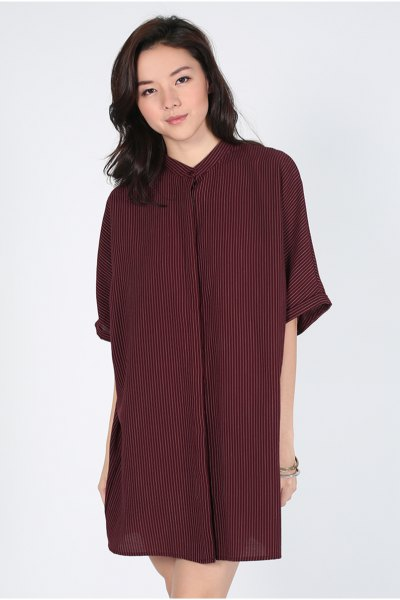 burgundy striped batwing shirt dress