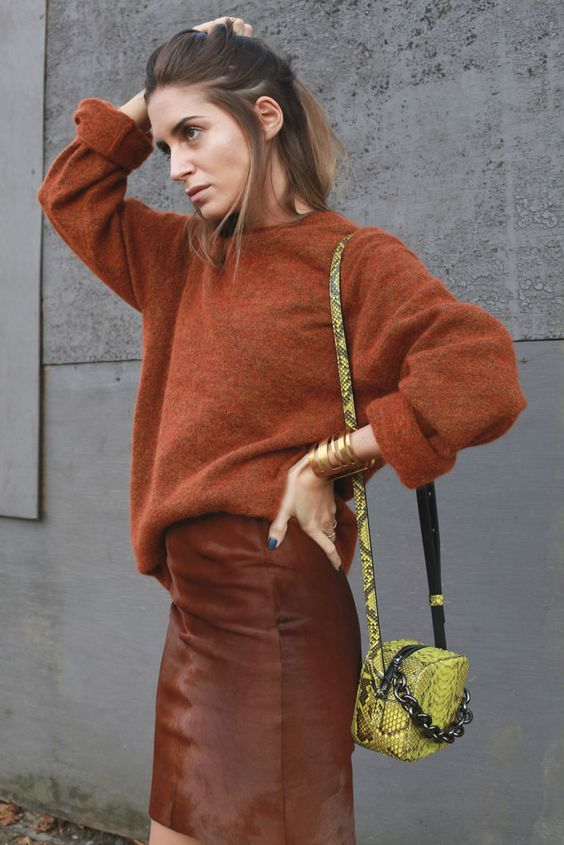 burnt orange sweater matchy
