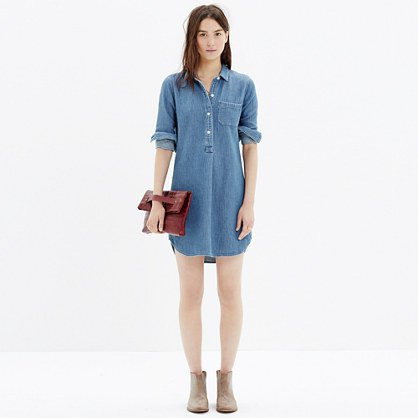 chambray popover shirtdress with ankle boots