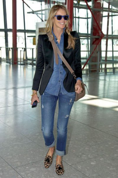 chambray shirt black velvet blazer