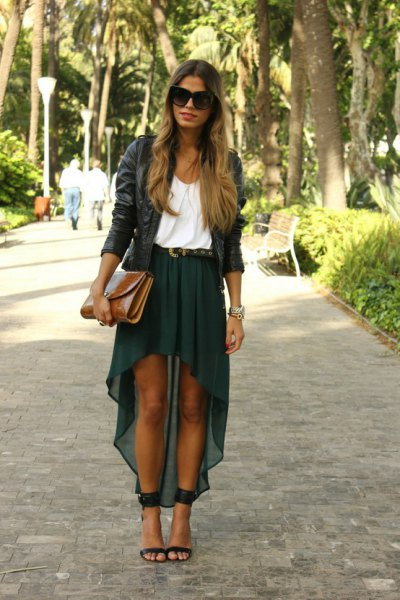 chiffon skirt black leather jacket