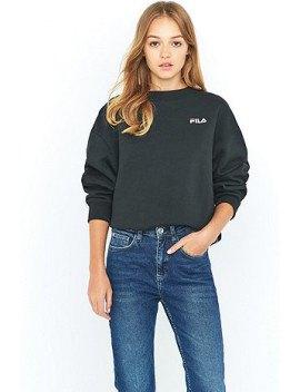 chunky sweatshirt blue straight leg jeans