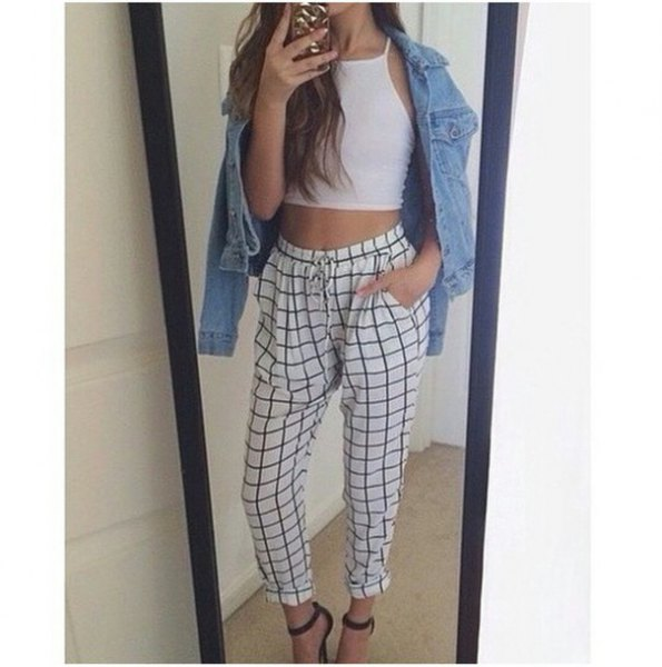 crop top white and black plaid linen pants