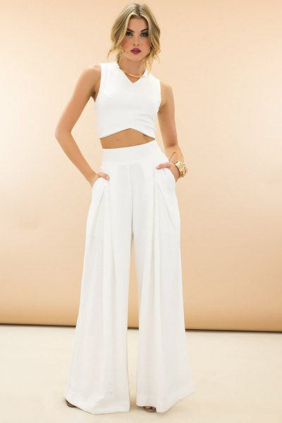 crop top white high waisted wide leg dress pants