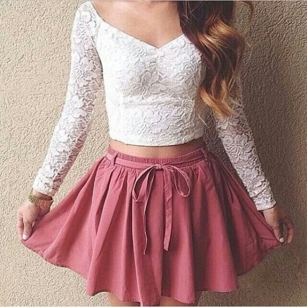 cropped lace top blush pink skater mini skirt