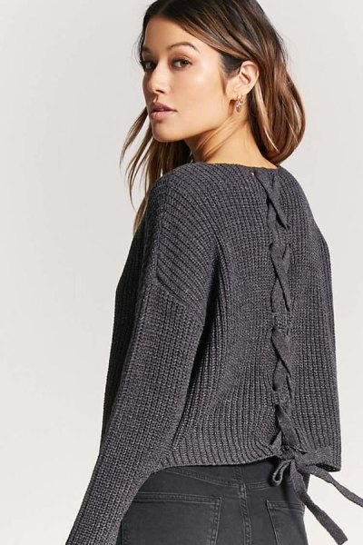 dark grey v neck ribbed lace up sweater