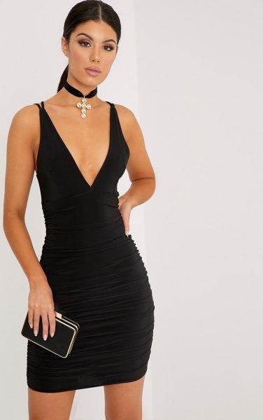 deep v neck bodycon mini dress black choker