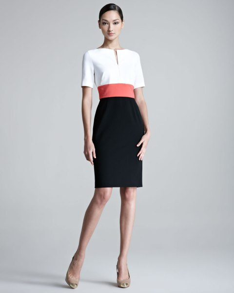 faux belted color block bodycon dress