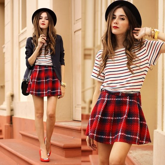 flannel red plaid mini skirt navy and white striped tee