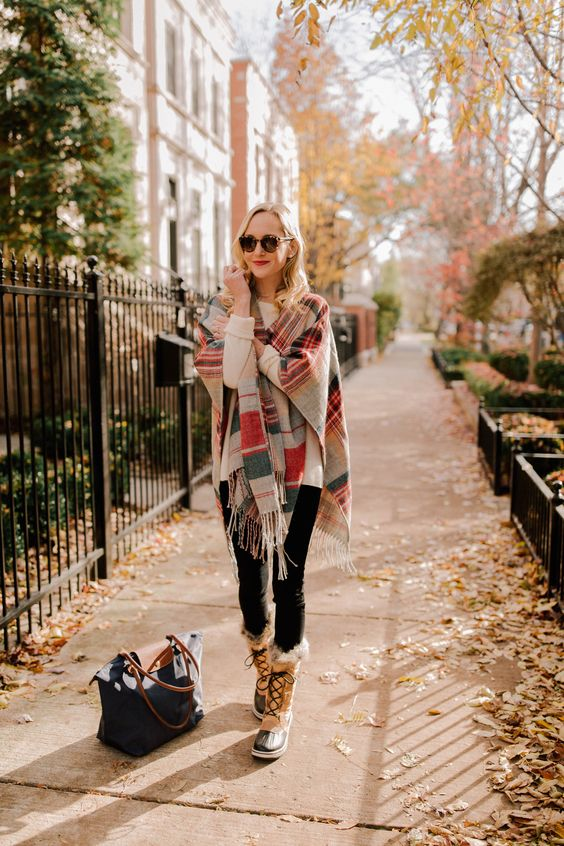 fur lined boots poncho