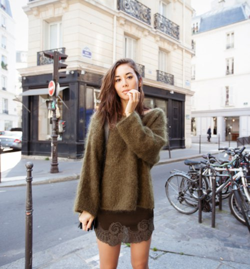 green chunky mohair sweater mini shift dress