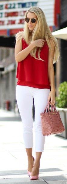green sleeveless knit sweater white skinny jeans