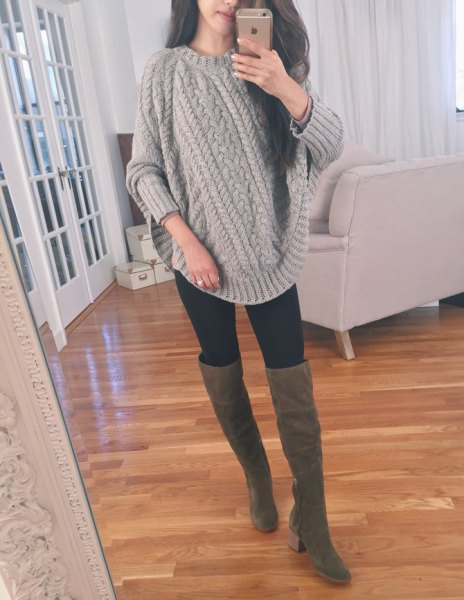 grey chunky cable knit sweater thigh high boots