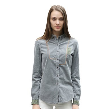 grey embroidered shirt white jeans