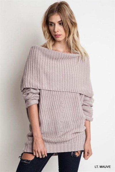 grey fold over shoulder ribbed sweater