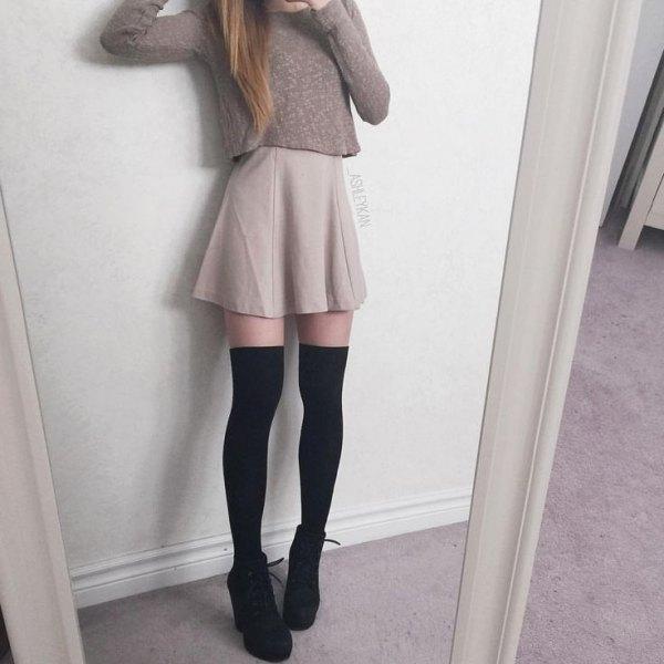 grey form fitting sweater mini skater skirt