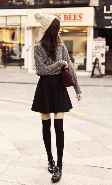 grey knit sweater black skater skirt