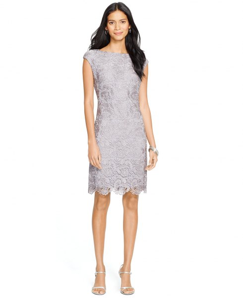 grey lace cap sleeve scalloped hem dress