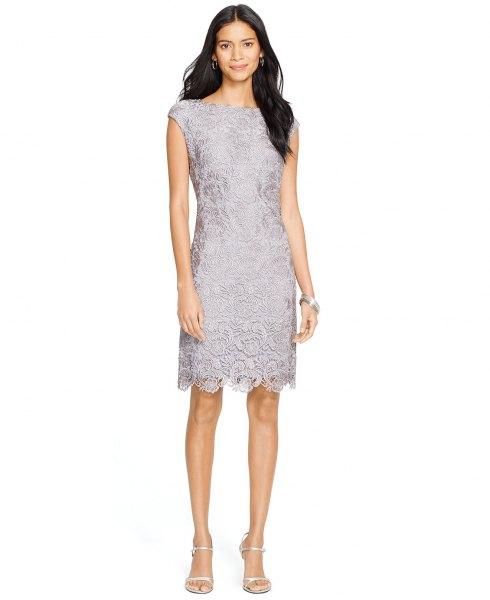 grey lace cap sleeve scalloped hem dress