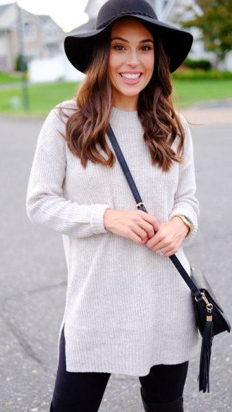 grey mock neck knit sweater black floppy hat
