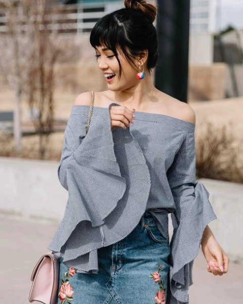 grey off the shoulder bell sleeve top