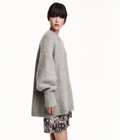 grey oversized mohair knit sweater mini skirt