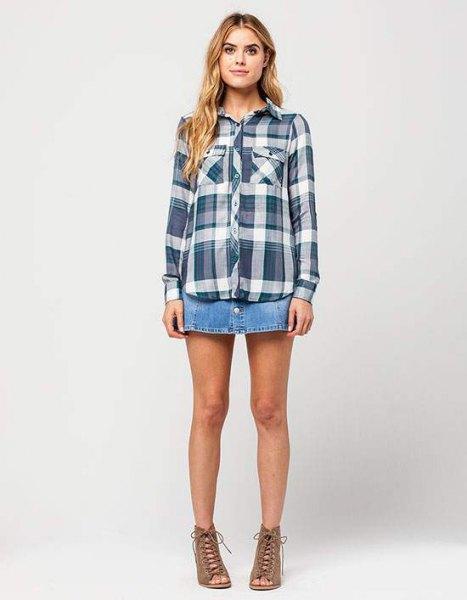 grey plaid boyfriend rayon shirt denim mini skirt