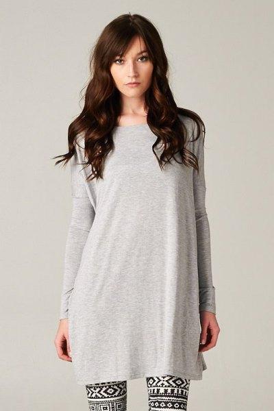 grey t shirt dress tribal printed leggings