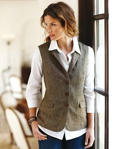 grey tweed vest white button shirt
