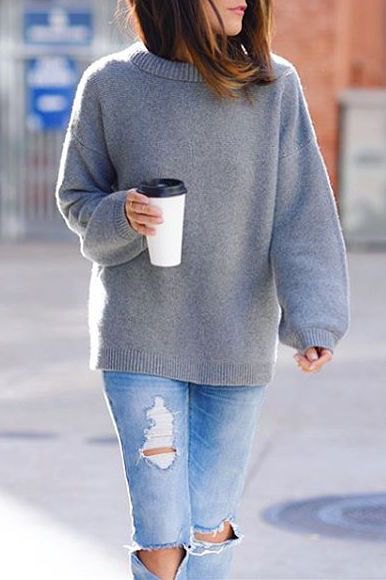 grey wool sweater ripped jeans