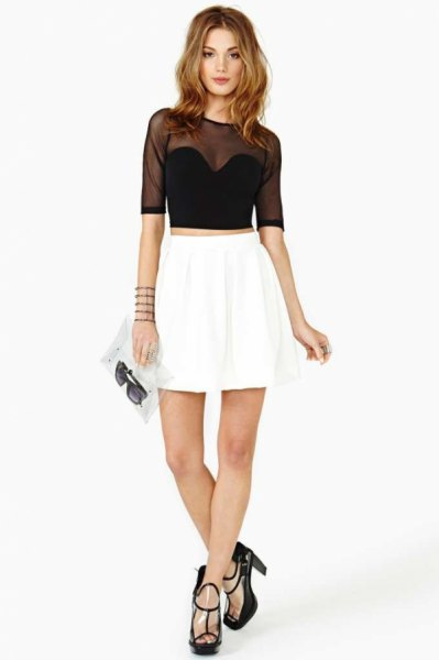 half sleeve black cropped mesh top white skater dress