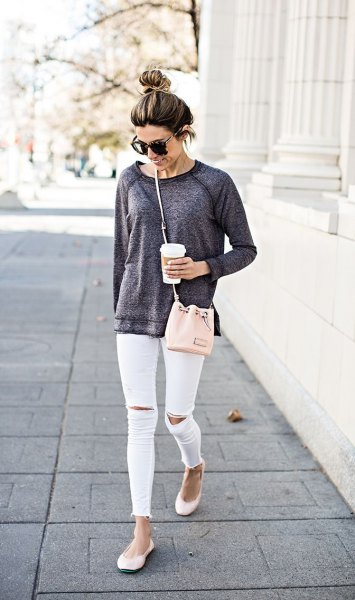 heather grey chunky sweatshirt white ripped skinny jeans