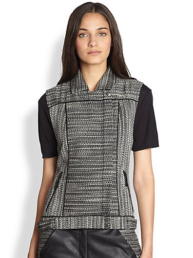 heather grey tweed vest black leather pants