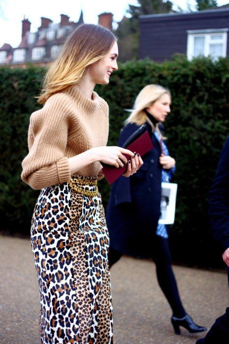 leopard print skirt sweater