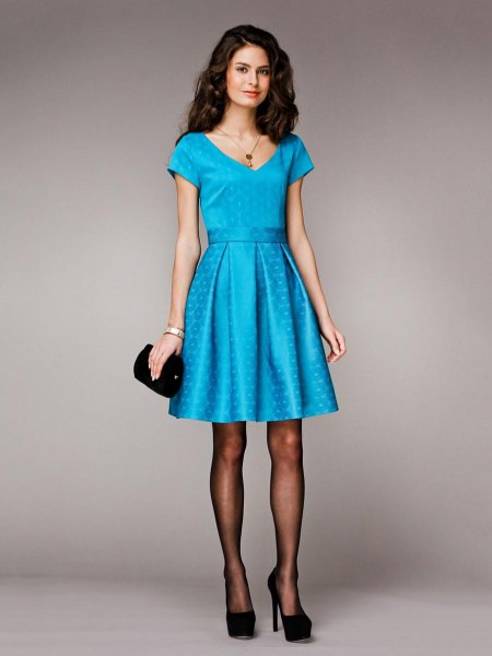 light blue belted silk cocktail dress