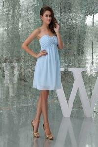 light blue off shoulder chiffon cocktail dress