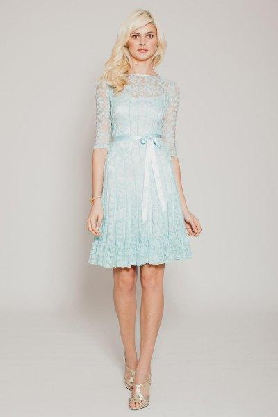 light blue shift dress lace semi sheer overlay