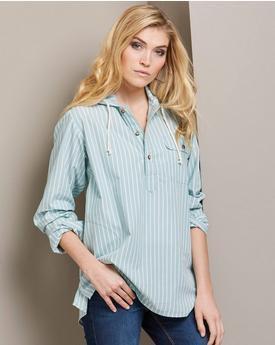 light blue striped hooded popover shirt