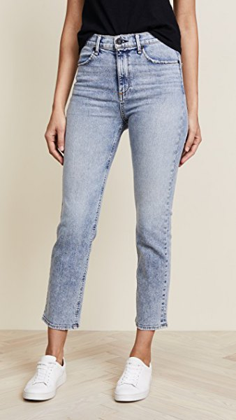 light blue washed high waisted cigarette jeans