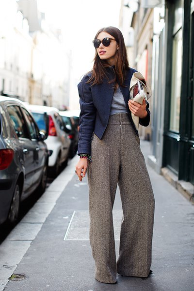 light grey wide leg tweed pants black moto jacket