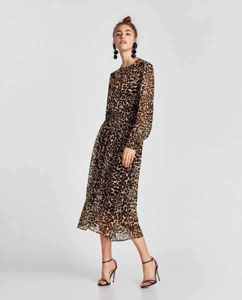 long sleeve relaxed fit midi dress