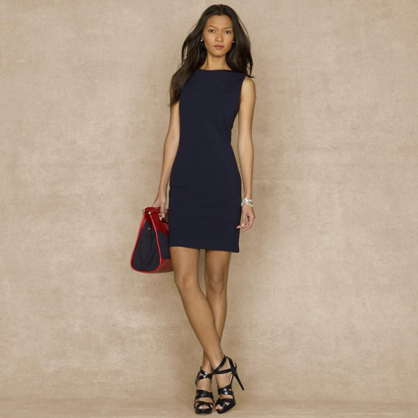 navy bodycon dress black strappy heels