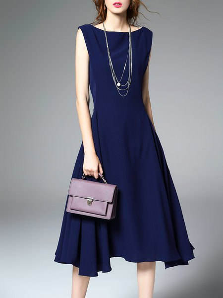 navy fit and flare ruffle midi dress