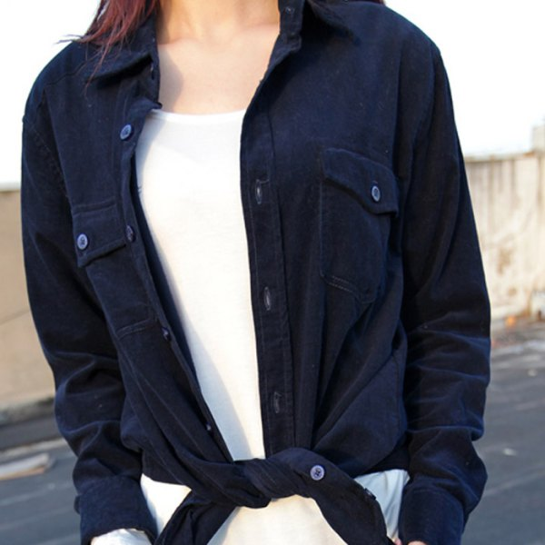 navy knotted corduroy shirt over white top