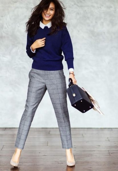 womens sweater over collared shirt