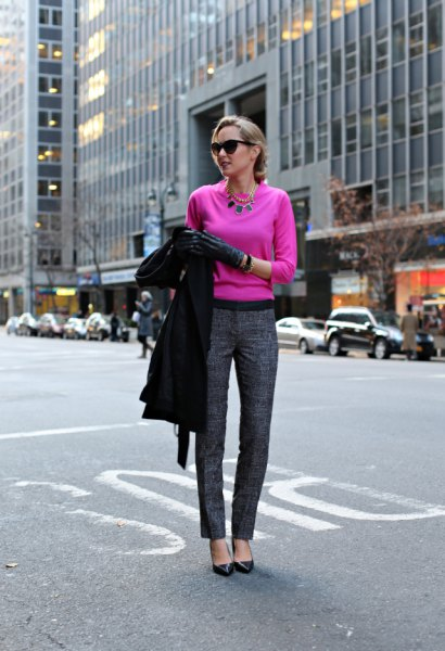 neon pink sweater grey tweed pants