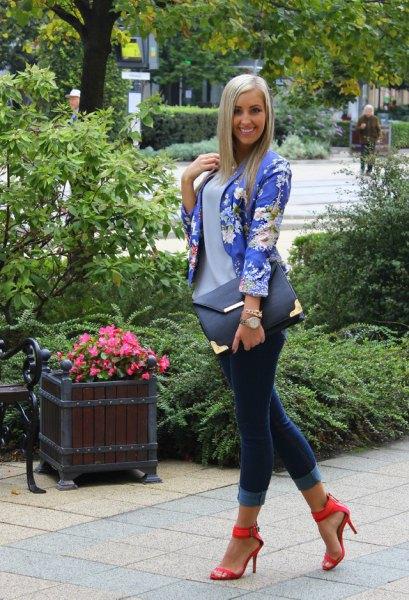 open toe strappy heels blue floral blazer